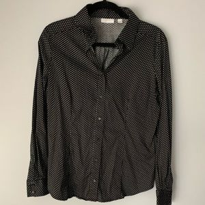 Black and White Dots Button Down Collared Shirt